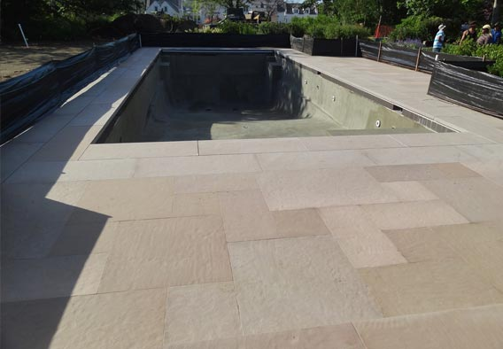 Brown Sandstone - Flamed Finish Pool Surround