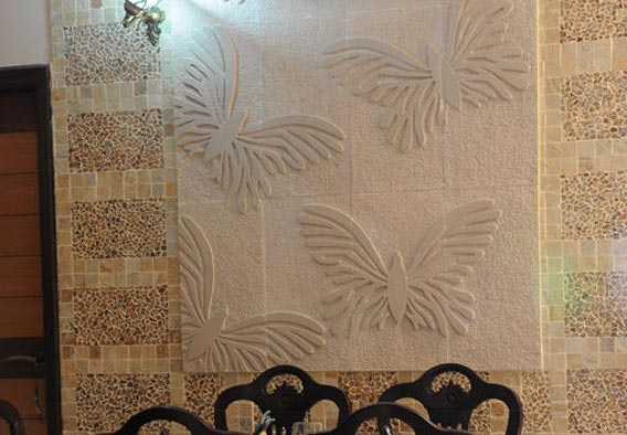 3D Butterfly Pattern, Mint Sandstone Cladding