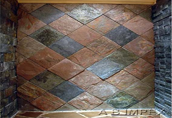 Copper And Mix Slate Tiles Cladding