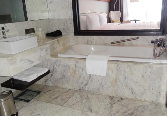 Purple White Marble Bathroom Counters