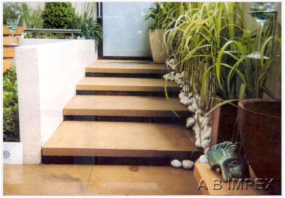 Peach Yellow Sandstone-Honed Treads