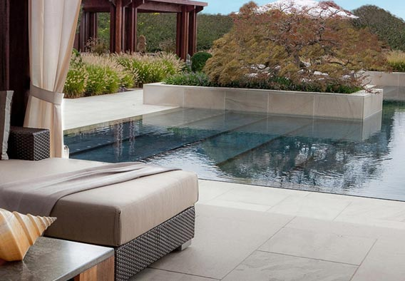 White Flamed Sandstone Pool Surround